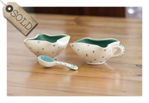 green spotty 60s pottery