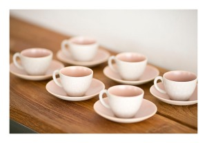 Poole 'peach bloom' tea cups