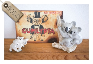 Retro sign & koala figurines