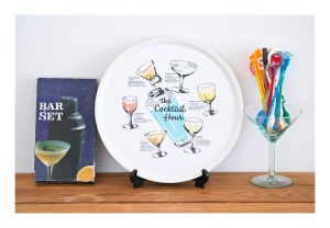 retro cocktail tray & bar set