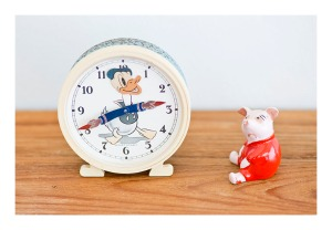 Donald Duck clock & Piglet figurine