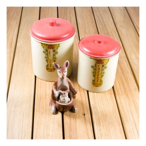 Bakelite canisters & kanga & roo salt and pepper set