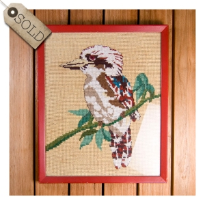 1970s cross stitched kookaburra