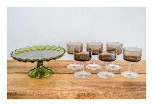 Luminarc wineglasses & Anchor Hocking cake stand