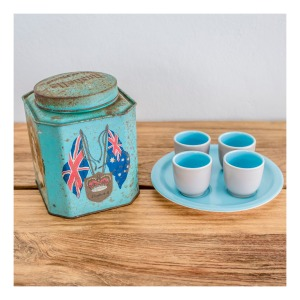Retro tea caddy and egg cup set