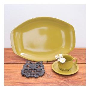 70s Bessemer 'avocado' platter and cup& saucer, Owl trivet