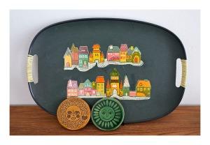 transfer print tray and ceramic coasters