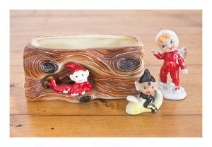 50s pixie planter & figurines