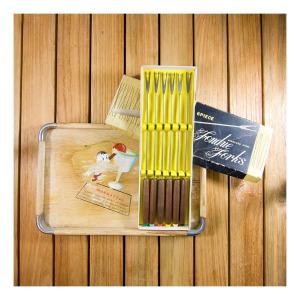 60s tray and fondue forks