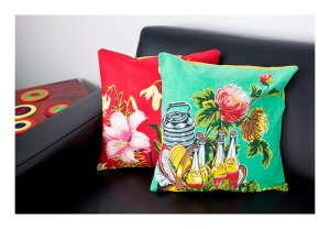 Upcycled cushions [50s graphics]