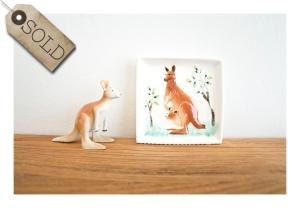 retro kangaroo wall plate & figurine