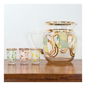 50s spotty jug & shot glasses