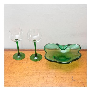 70s green glassware