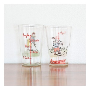 Golfing novelty nip glasses, 1960s
