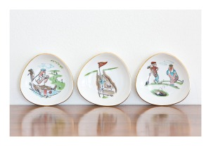 50s golf novelty plates