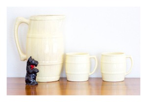 SylvaC cider barrel jug & mugs
