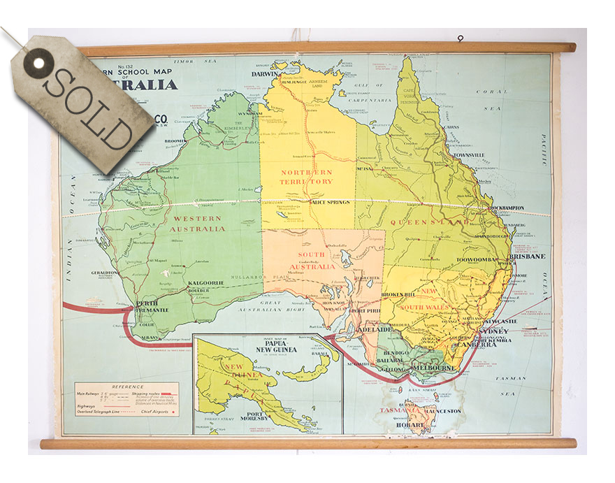 Old School map, Australia 1940s | re:retro