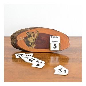 Mulga wood perpetual calendar, 1950s