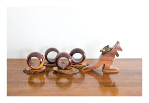 Mulga wood napkin rings & kangaroo lighter