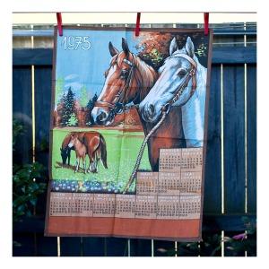 1975 horse calendar tea towel