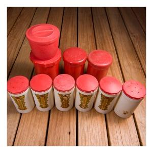 Australian bakelite spice canisters