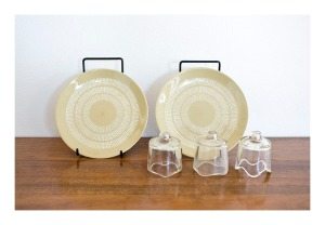 Crown Lyn 'Egmont' plates and Pyrex pie funnels