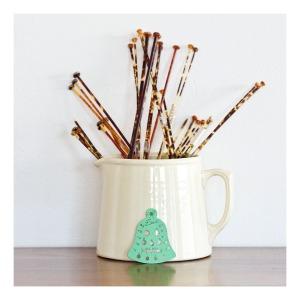 Fowler Ware jug, tortoise shell knitting needles, Emu knitting pin gauge