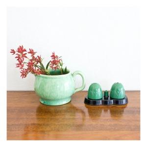 Fowler Ware jug & Ibis condiment set
