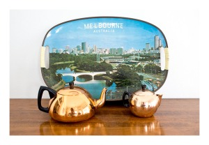 50s Melbourne tray and Glamaware teapots