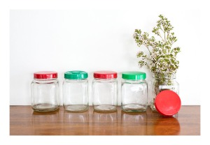 Glass kitchen canisters 1950s