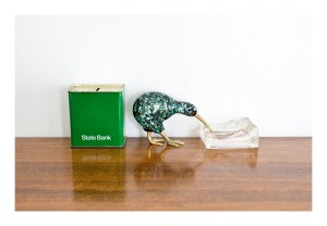 60s style: kiwi, moneybox, inkwell